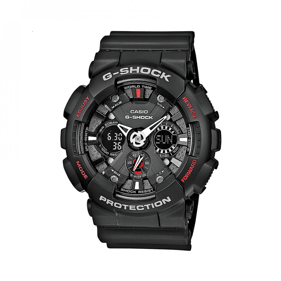 Мъжки спортен часовник Casio G-SHOCK черен с малки червени надписи GA1201AER