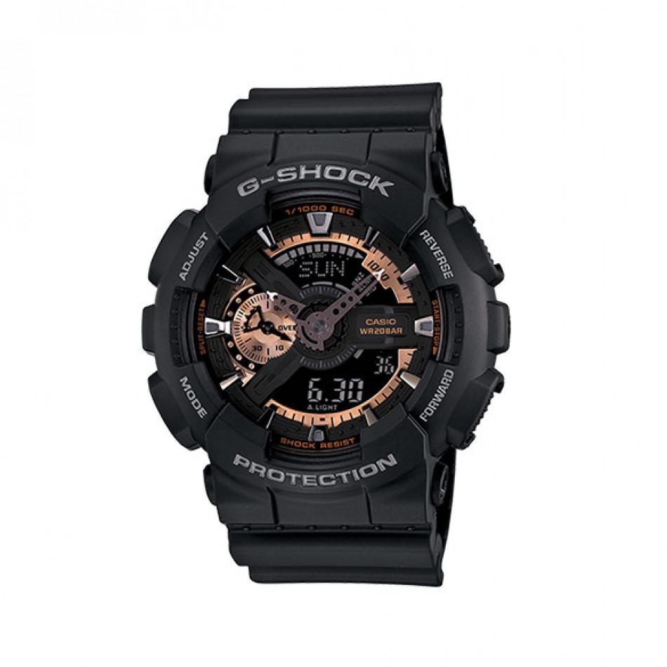 Мъжки спортен часовник Casio G-SHOCK черен със златисти детайли GA110RG1AER