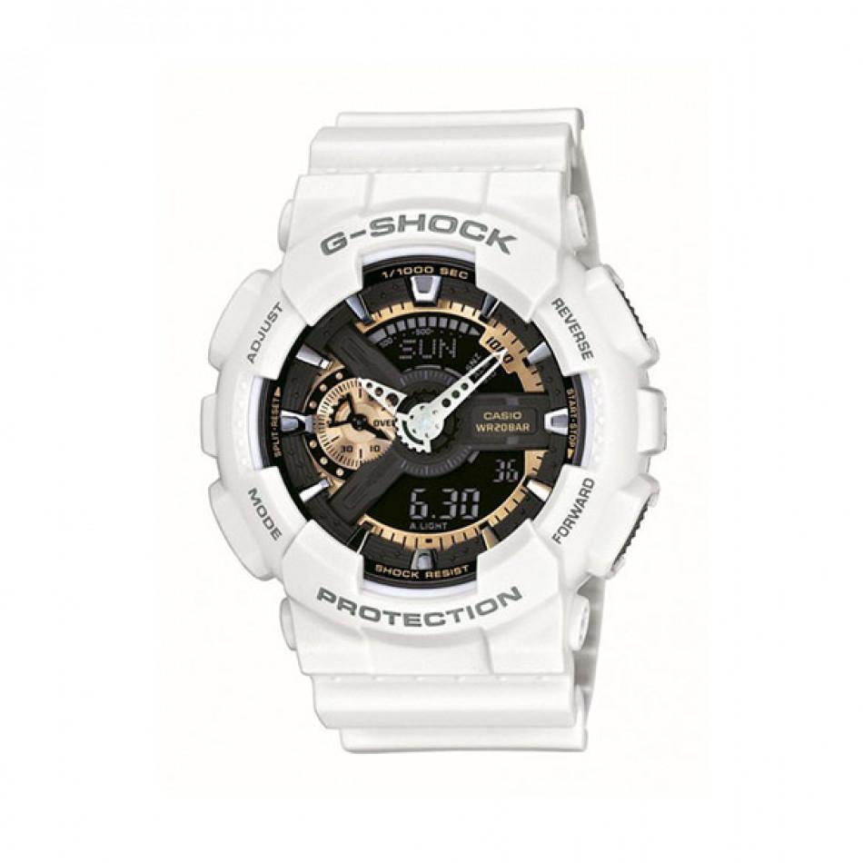 Мъжки спортен часовник Casio G-SHOCK бял със златисти детайли GA110RG7AER