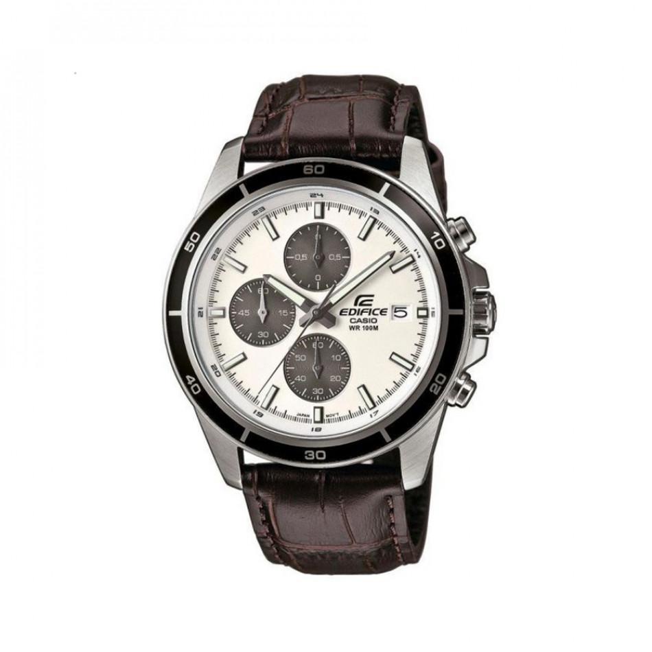 Мъжки часовник Casio Edifice с кафява кожена каишка EFR526L7AVUEF
