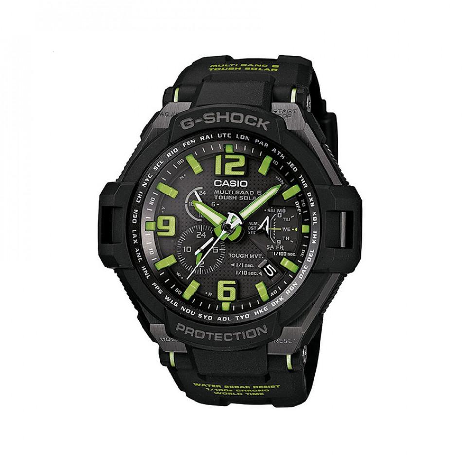 Мъжки спортен часовник Casio G-SHOCK черен с неоново зелени детайли GW40001A3ER