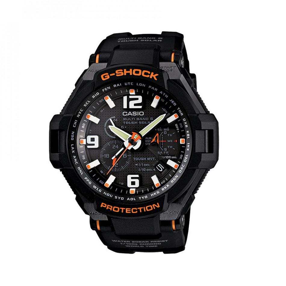 Мъжки спортен часовник Casio G-SHOCK черен с оранжеви надписи и детайли GW40001AER