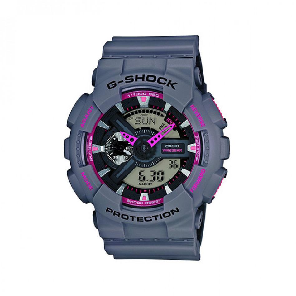 Мъжки спортен часовник Casio G-SHOCK  сив с розови детайли GA110TS8A4ER