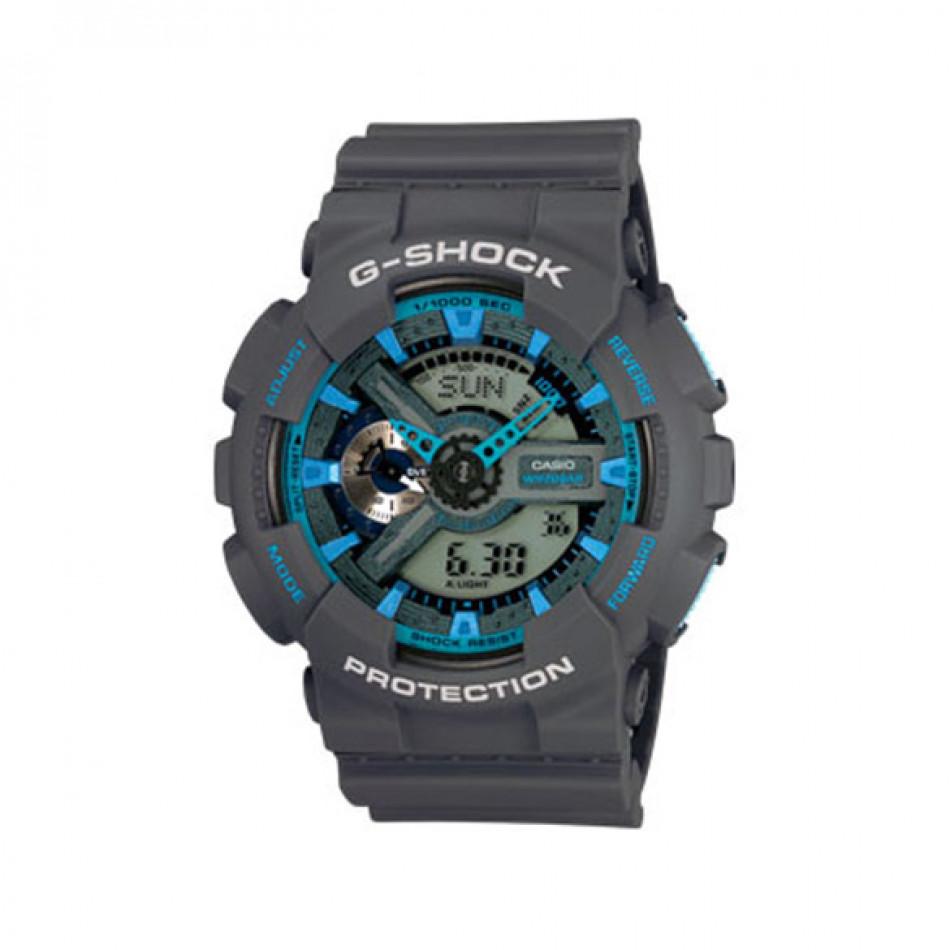 Мъжки спортен часовник Casio G-SHOCK сив със сини елементи GA110TS8A2ER