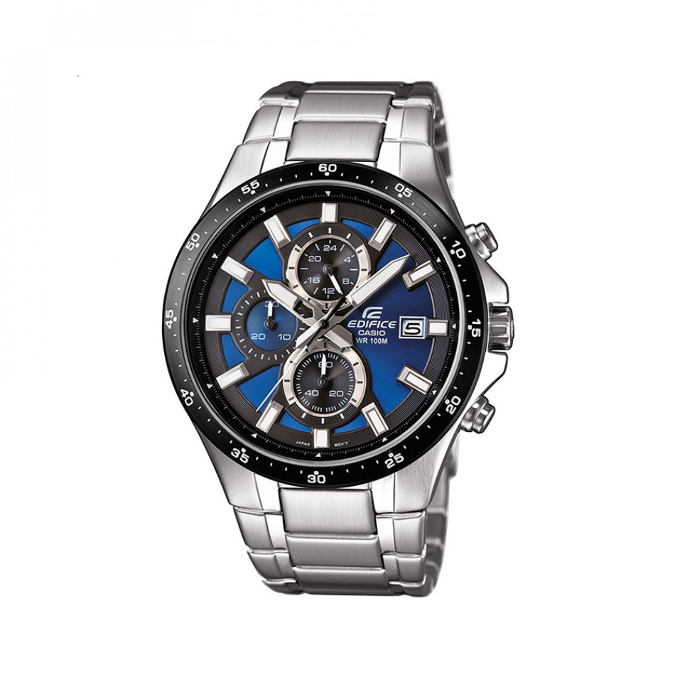 Мъжки часовник Casio Edifice сребрист браслет със син циферблат EFR519D2AVEF