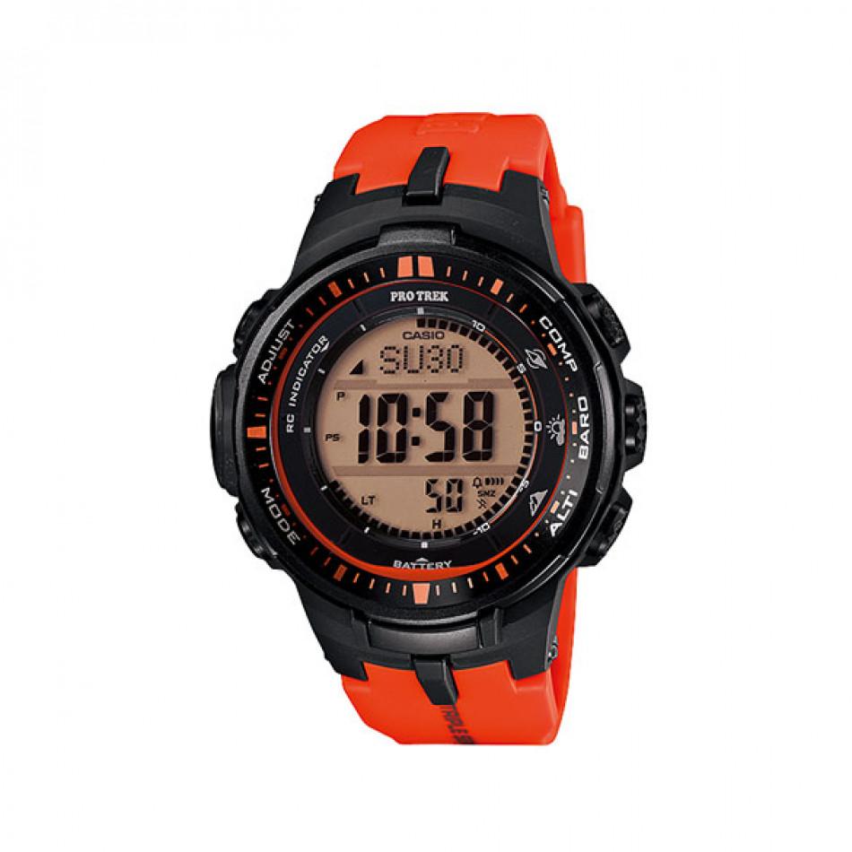 Мъжки часовник Casio Pro Trek черен с оранжева каучукова каишка PRW30004ER