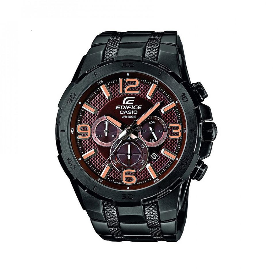 Мъжки часовник Casio Edifice черен браслет с оранжеви стрелки EFR538BK5AVUEF