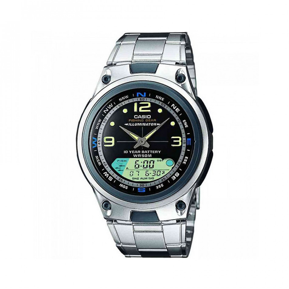Мъжки часовник Casio Collection сребрист браслет с дисплей за фаза на луната AW82D1AVES