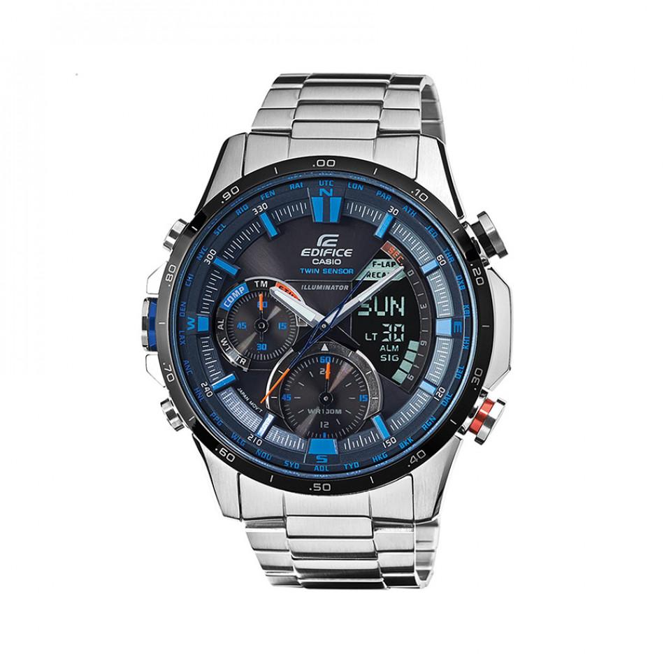 Мъжки часовник Casio Edifice сребрист браслет с оранжев бутон и син циферблат ERA300DB1A2VER