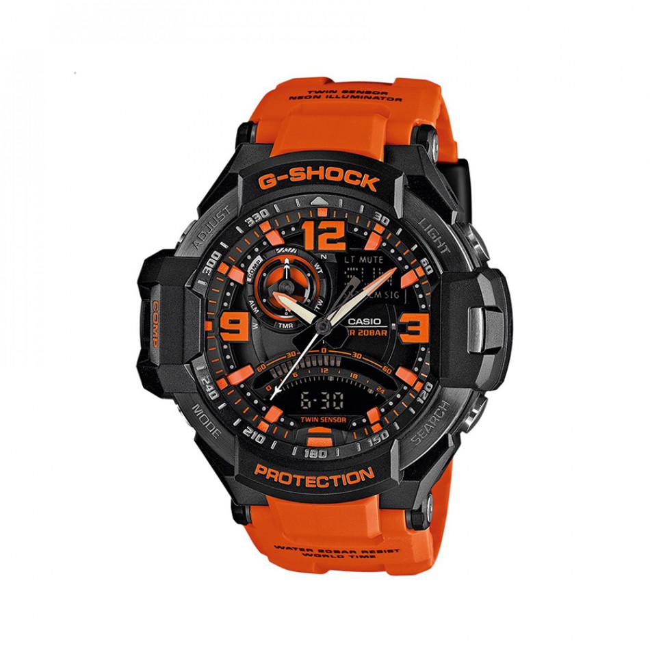 Мъжки спортен часовник Casio G-SHOCK оранжев с оранжеви цифри GA10004AER