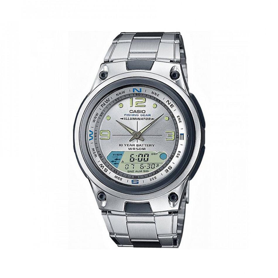 Мъжки часовник Casio Collection сребрист браслет с втора часова зона AW82D7AVES