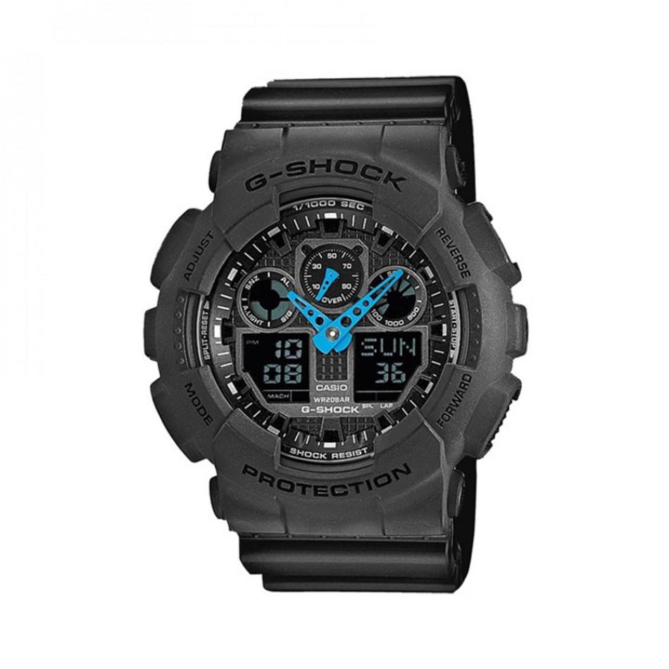 Мъжки спортен часовник Casio G-SHOCK сив със сини стрелки GA100C8AER