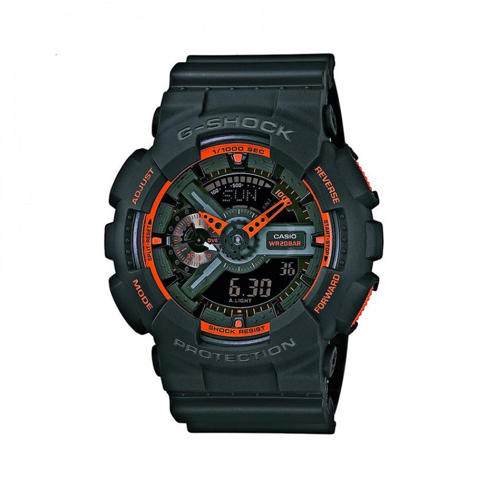 Мъжки спортен часовник Casio G-SHOCK черен с оранжеви детайли и стрелки GA110TS1A4ER
