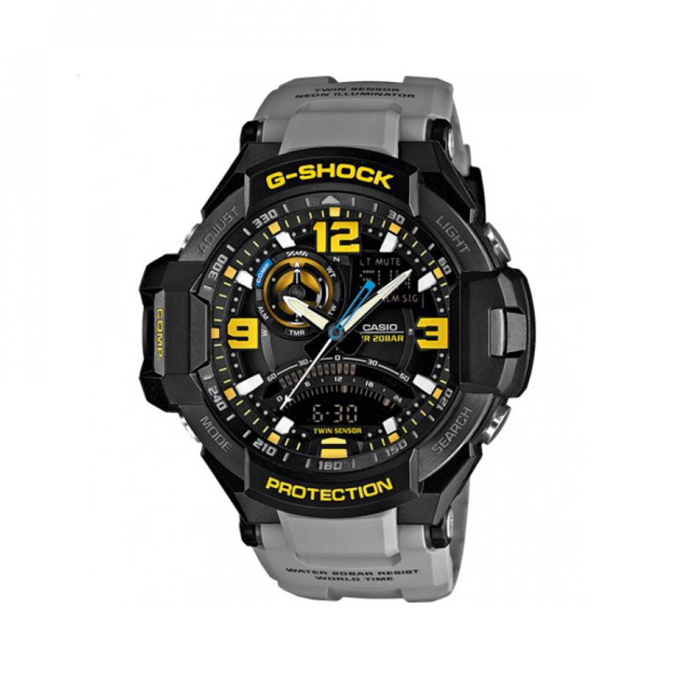 Мъжки спортен часовник Casio G-SHOCK сив с жълти цифри GA10008AER