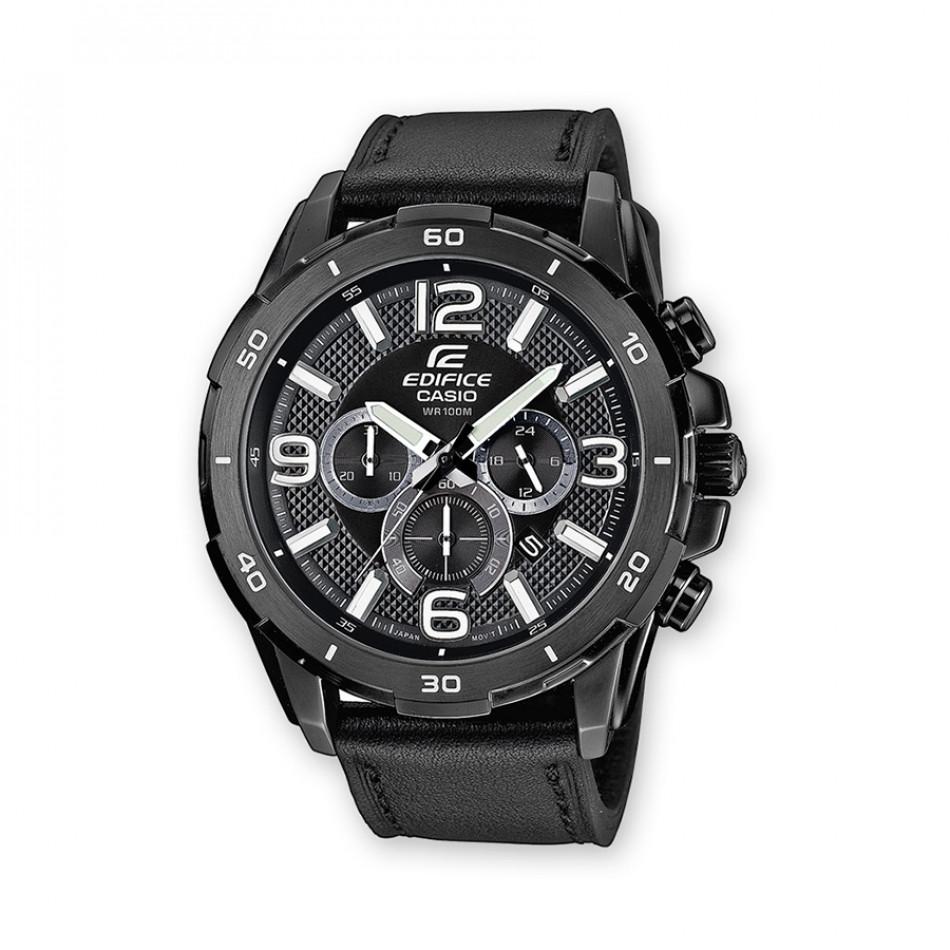Мъжки часовник Casio Edifice черен с черна кожена каишка EFR538L1AVUEF