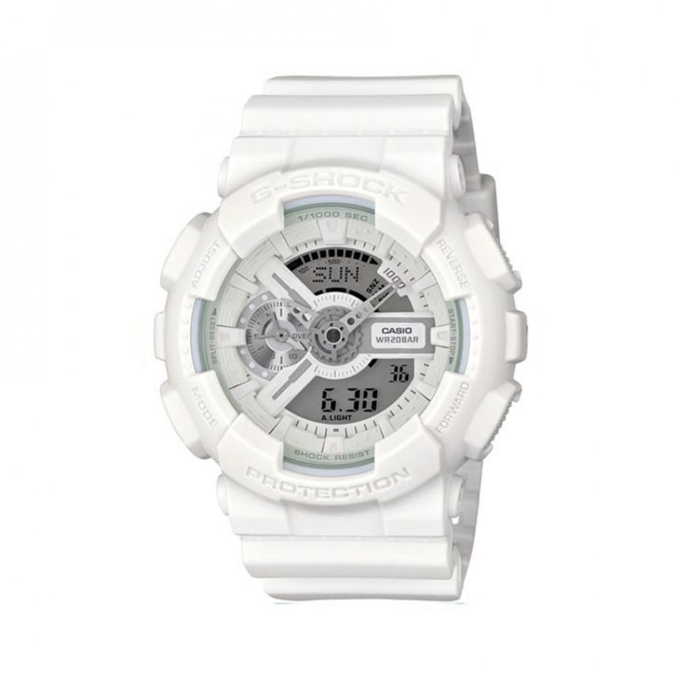 Мъжки спортен часовник Casio G-SHOCK бял изчистен модел GA110BC7AER