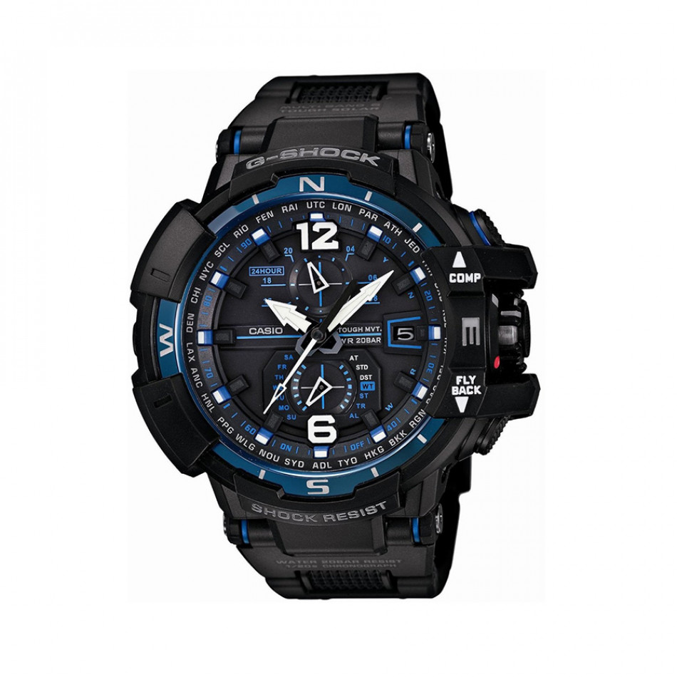 Мъжки спортен часовник Casio G-SHOCK черен със сини детайли GWA1100FC1AER