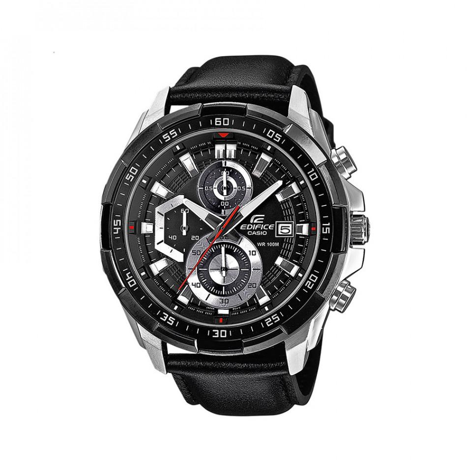 Мъжки часовник Casio Edifice сребристо-черен с каишка от естествена кожа EFR539L1AVUEF