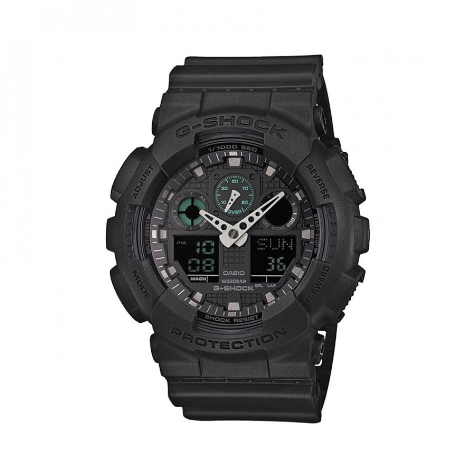 Мъжки спортен часовник Casio G-SHOCK черен с контрастни стрелки GA100MB1AER