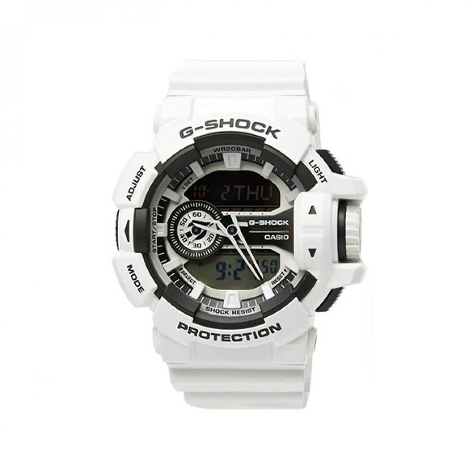 Мъжки спортен часовник Casio G-SHOCK бял със сиви детайли GA4007AER