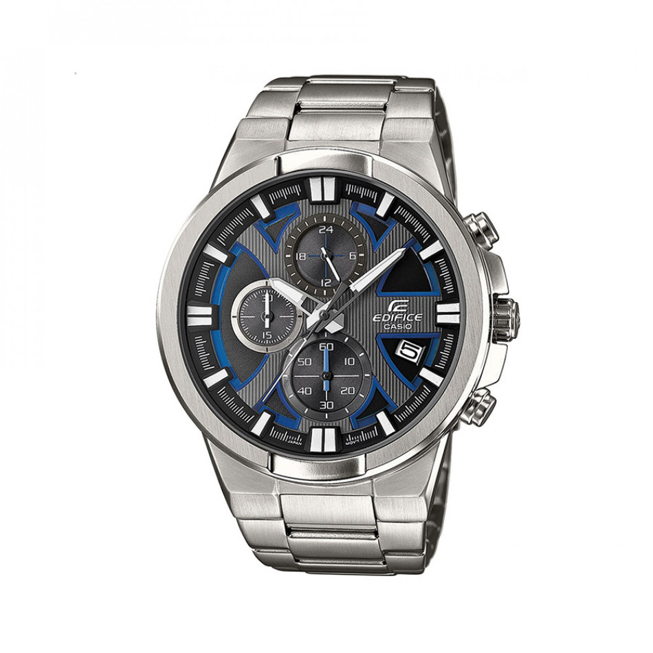 Мъжки часовник Casio Edifice сребрист браслет със сини детайли в циферблата EFR544D1A2VUEF