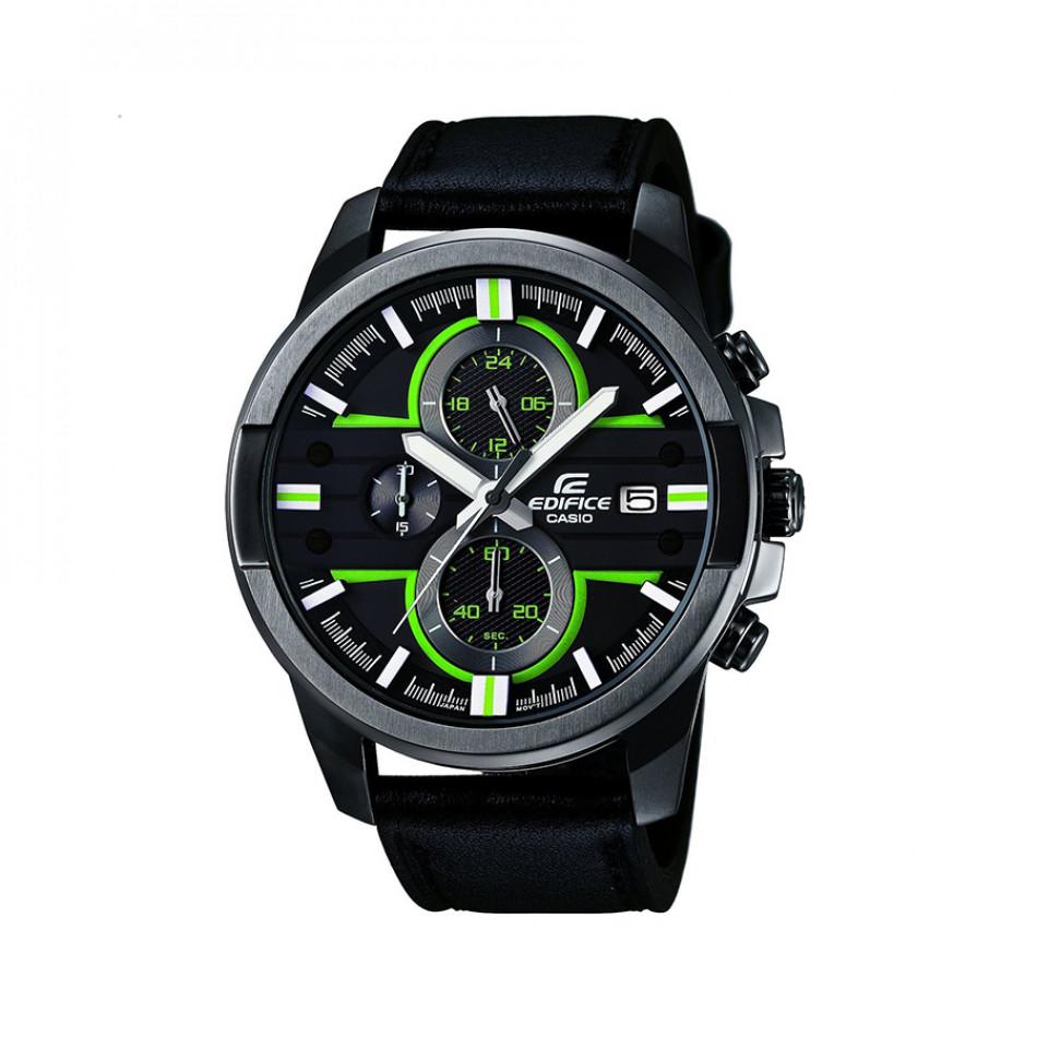 Мъжки часовник Casio Edifice черен с неоново зелени детайли  EFR543BL1AVUEF