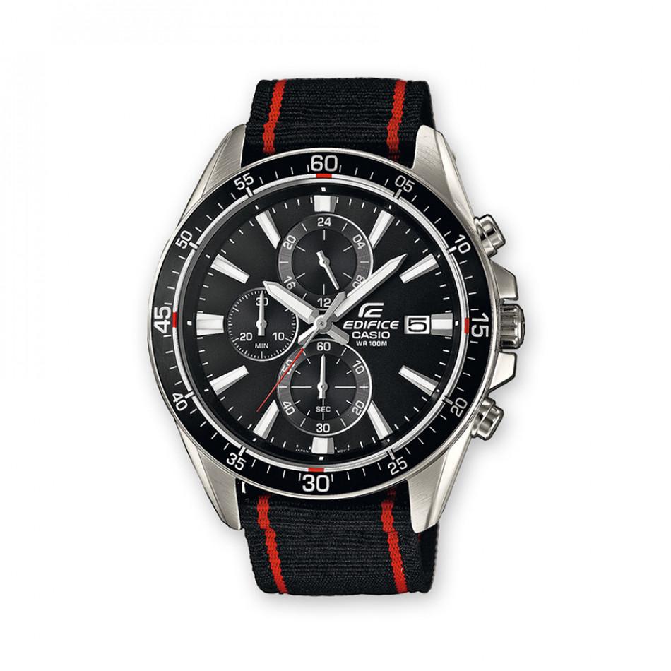 Мъжки часовник Casio Edifice черен с текстилна каишка EFR546C1AVUEF