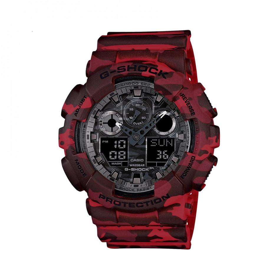 Мъжки спортен часовник Casio G-SHOCK червен камуфлаж GA100CM4AER