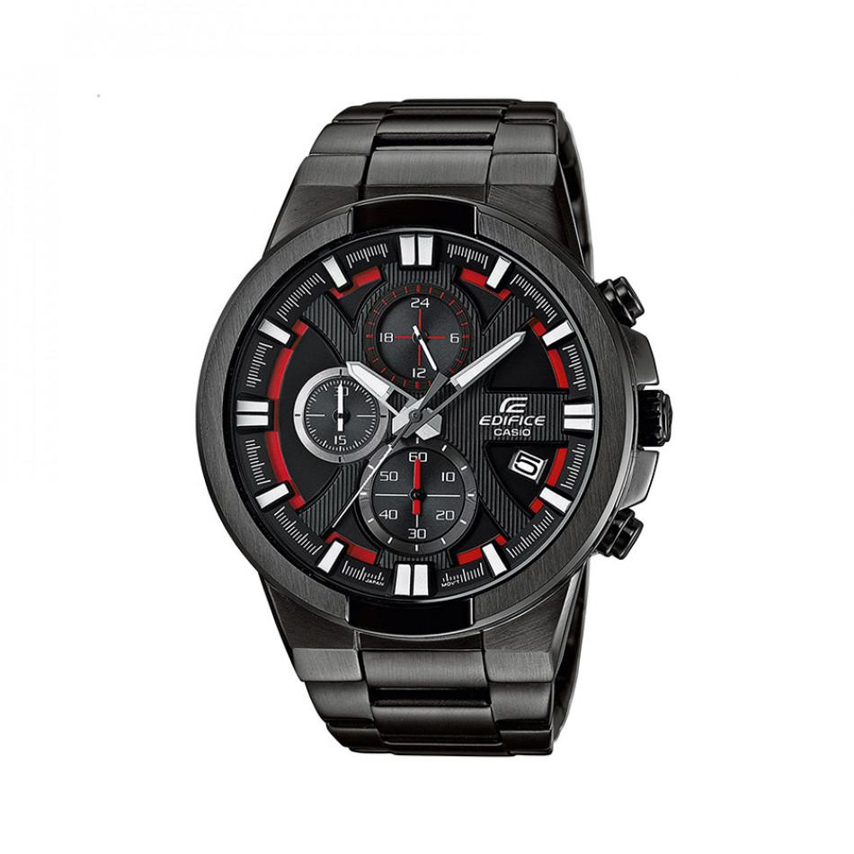Мъжки часовник Casio Edifice черен браслет с червени детайли в циферблата EFR544BK1A4VUEF