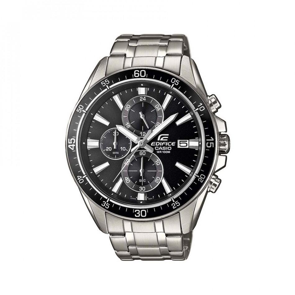 Мъжки часовник Casio Edifice сребрист браслет с черна каса EFR546D1AVUEF