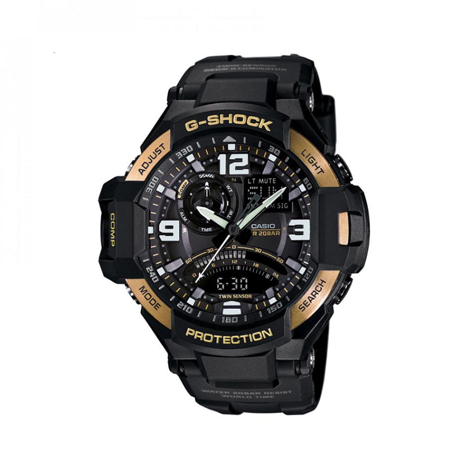 Мъжки спортен часовник Casio G-SHOCK черен със златисти означения на бутоните GA10009GER