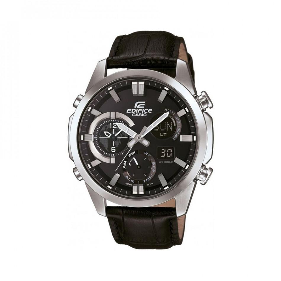 Мъжки часовник Casio Edifice сребристо-черен с черна каишка от естествена кожа ERA500L1AER