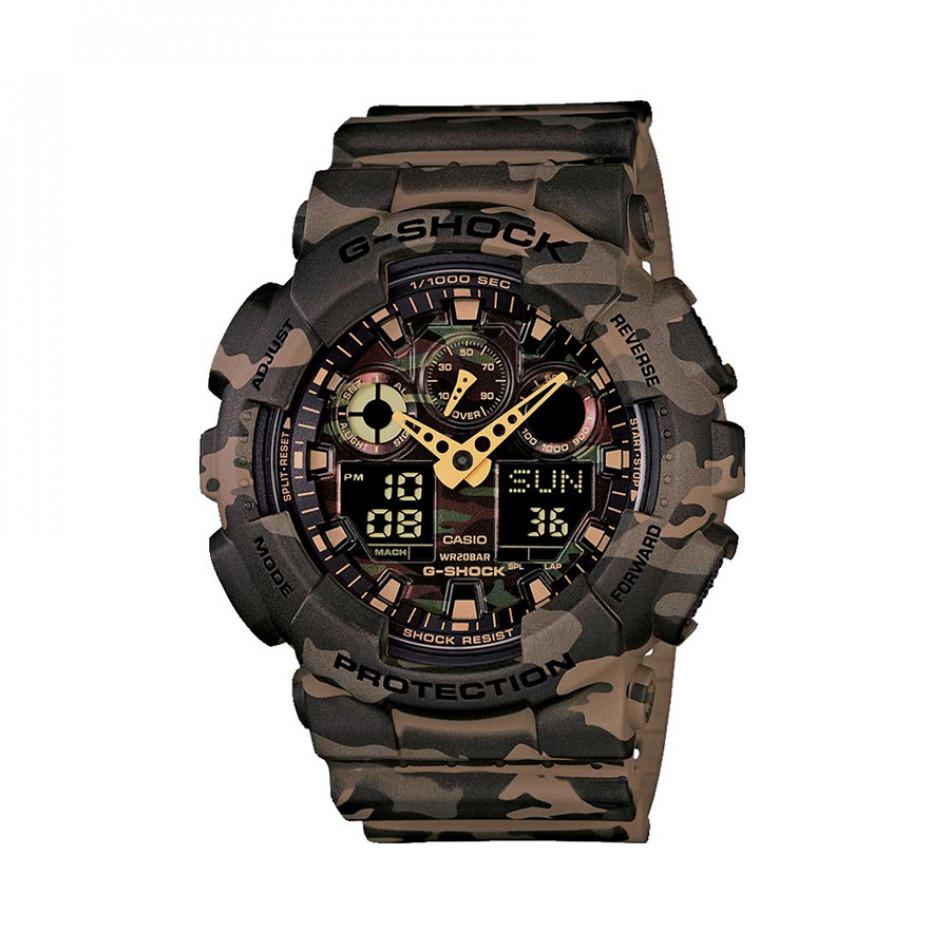 Мъжки спортен часовник Casio G-SHOCK зелено-кафяв камуфлаж GA100CM5AER