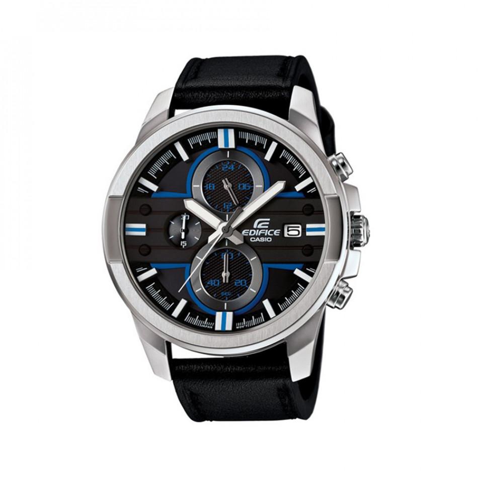 Мъжки часовник Casio Edifice със сребриста каса и черна каишка EFR543L1AVUEF