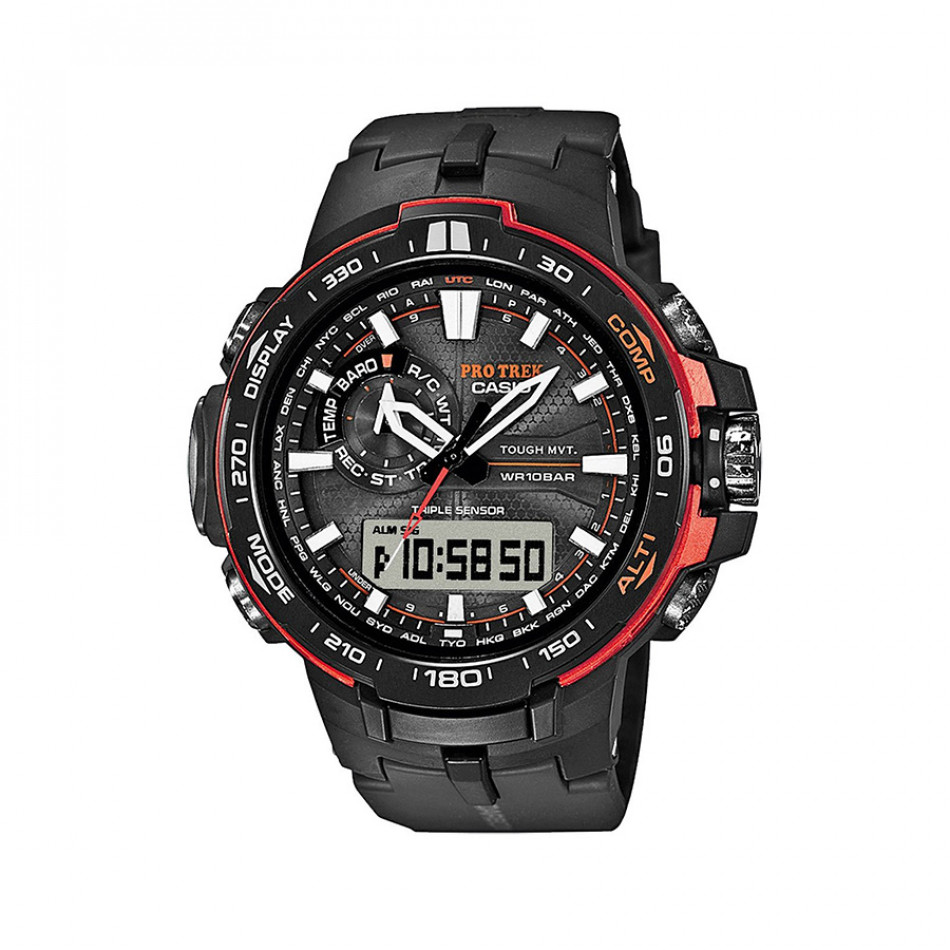 Мъжки часовник Casio Pro Trek с оранжеви елементи PRW6000Y1ER
