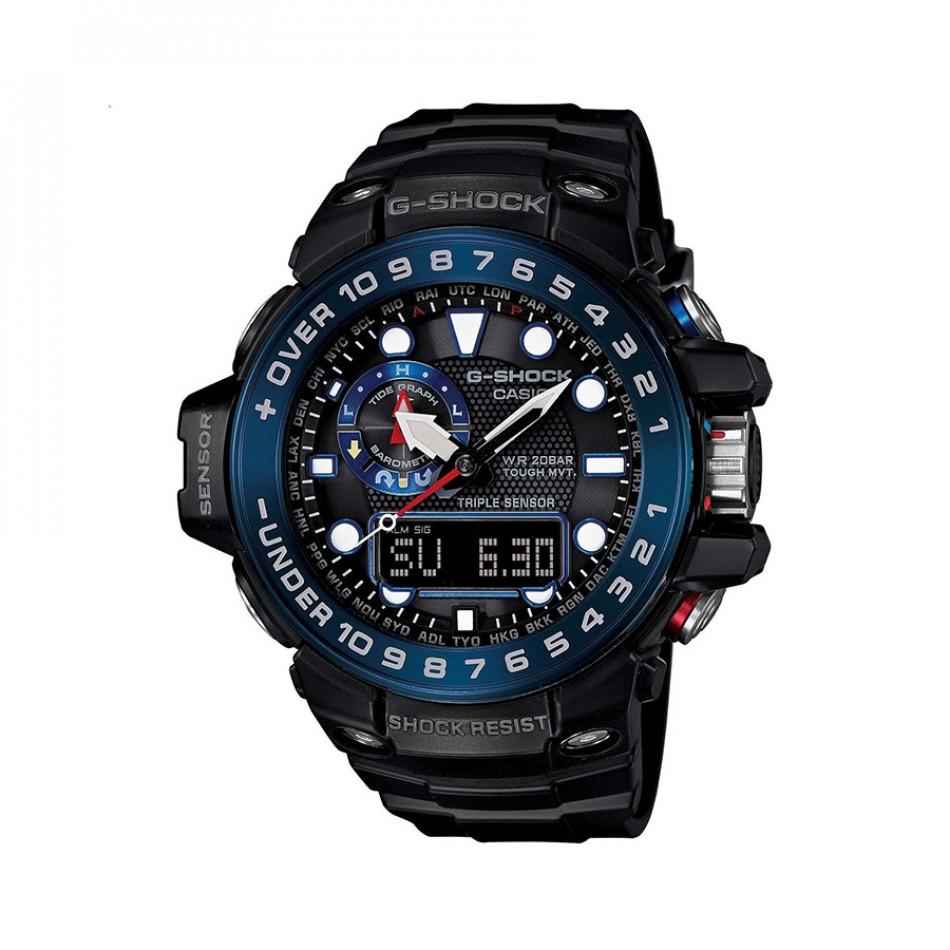 Мъжки спортен часовник Casio G-SHOCK черен със син ринг GWN1000B1BER