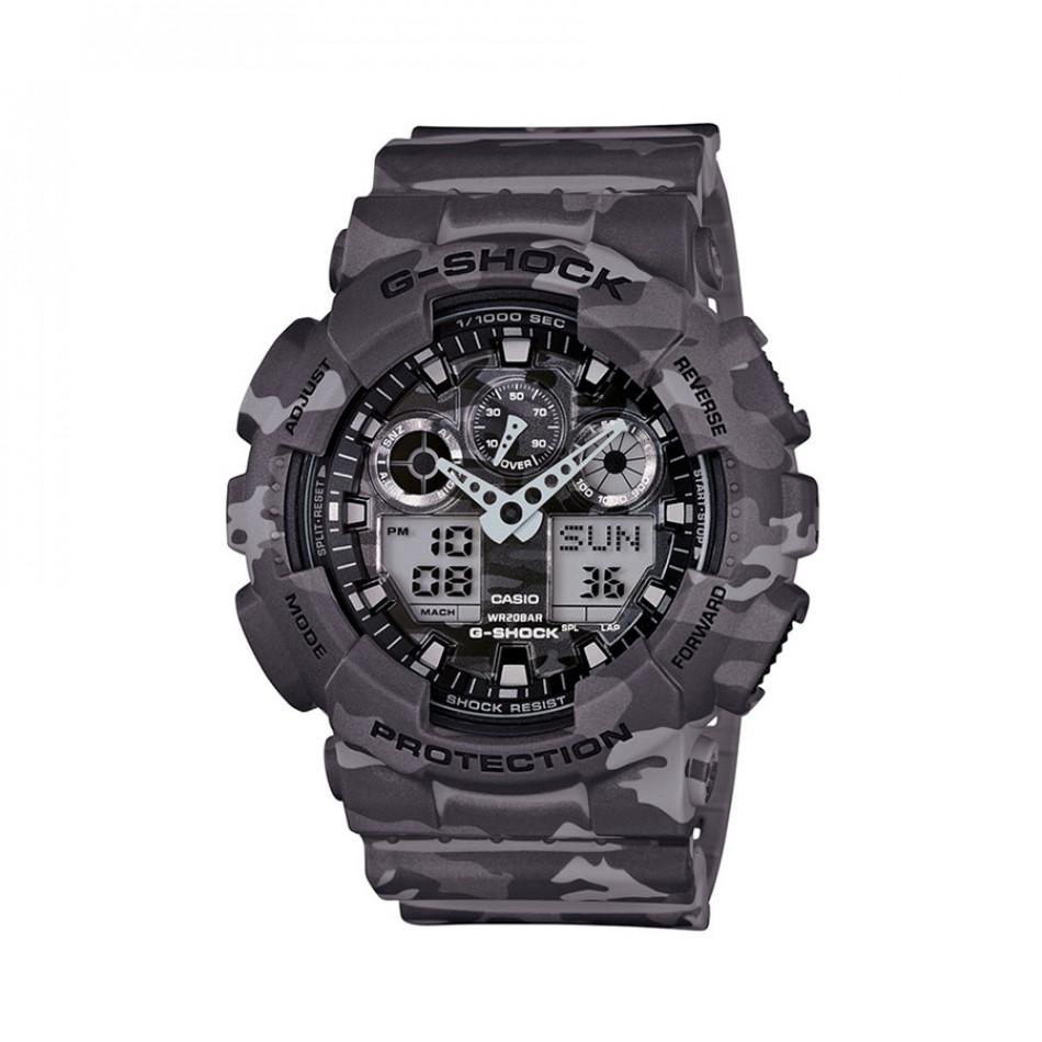 Мъжки спортен часовник Casio G-SHOCK светло сив камуфлаж GA100CM8AER