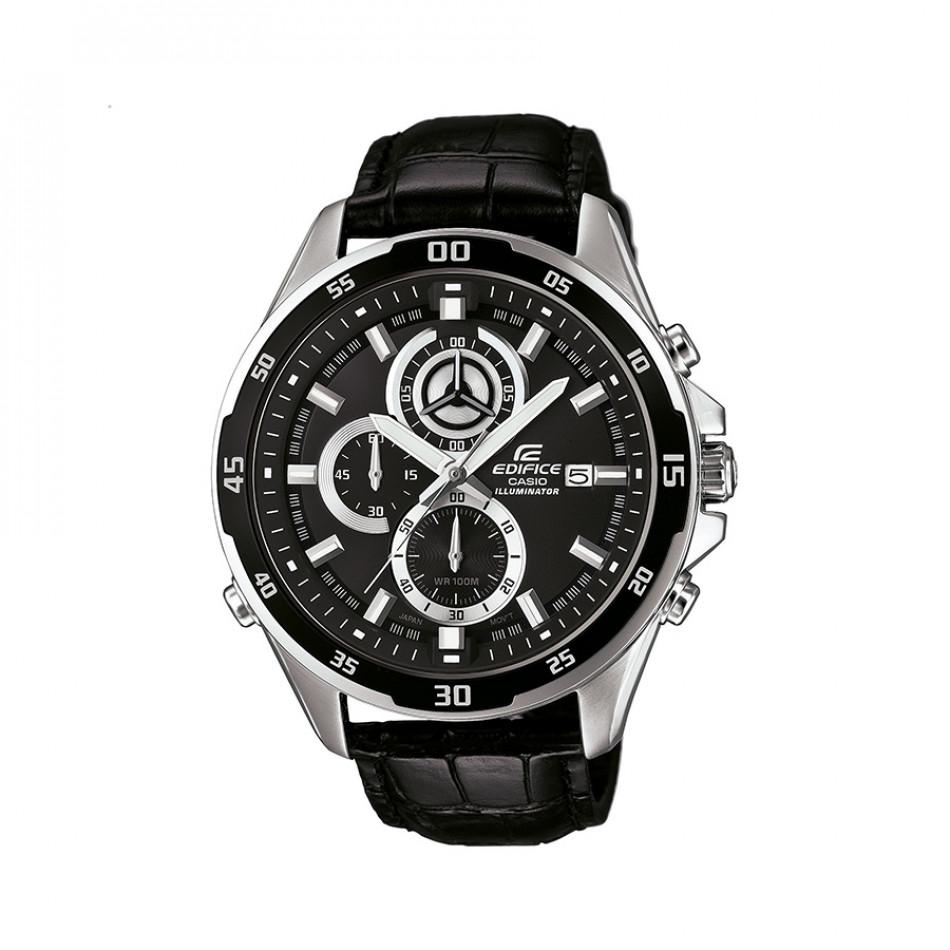 Мъжки часовник Casio Edifice с черна каишка от естествена кожа EFR547L1AVUEF