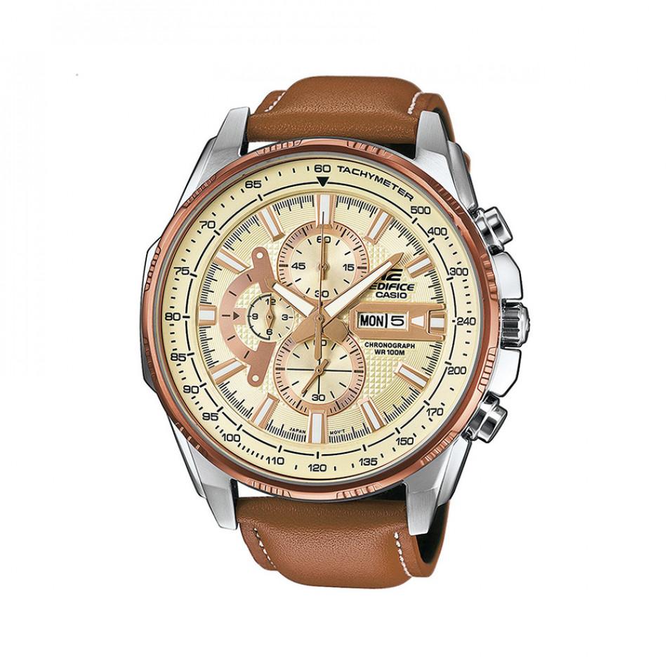 Мъжки часовник Casio Edifice с бежова каишка от естествена кожа EFR549L7AVUEF