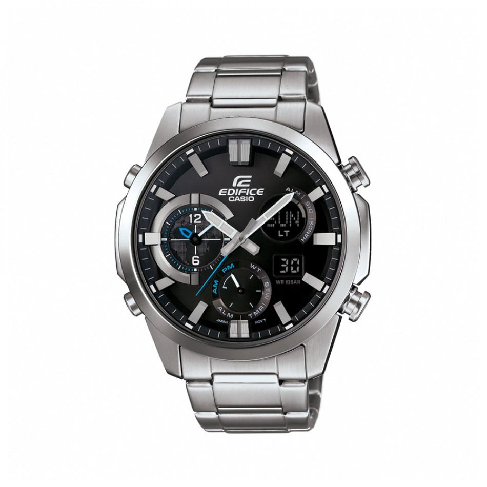 Мъжки часовник Casio Edifice сребрист браслет с малки сини детайли ERA500D1AER