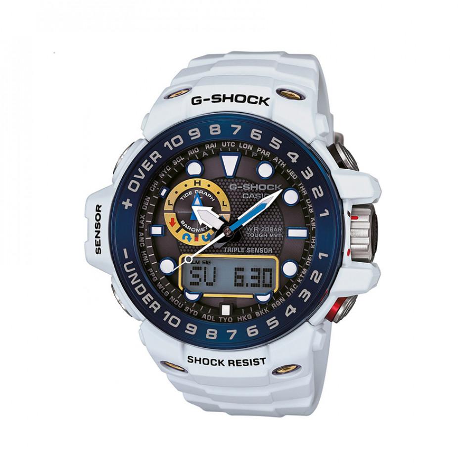 Мъжки спортен часовник Casio G-SHOCK бял със син ринг на циферблата GWN1000E8AER