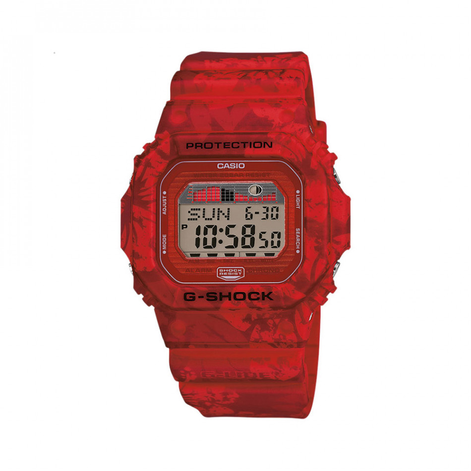 Мъжки часовник Casio G-SHOCK червен с цветя по каишката GLX5600F4ER