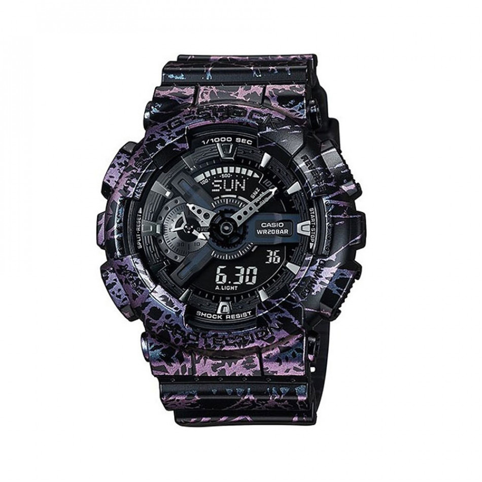 Мъжки спортен часовник Casio G-SHOCK черен с розово-лилав ефект на мрамор GA110PM1AER