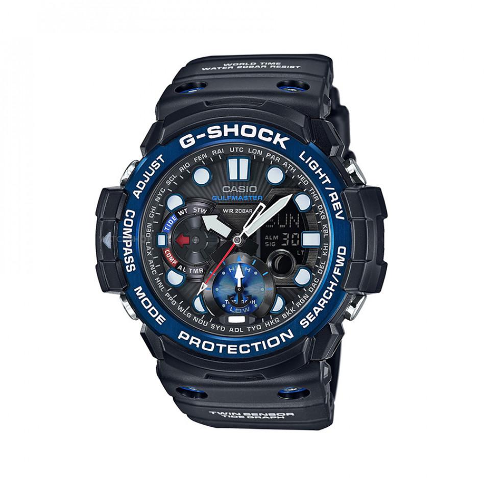 Мъжки спортен часовник Casio G-SHOCK черен със син ринг на циферблата GN1000B1AER