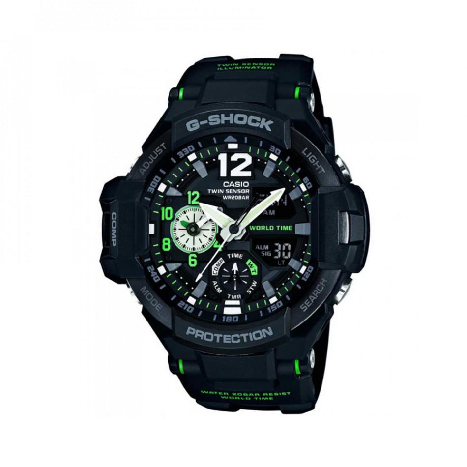 Мъжки спортен часовник Casio G-SHOCK черен с неоново зелени елементи GA11001A3ER