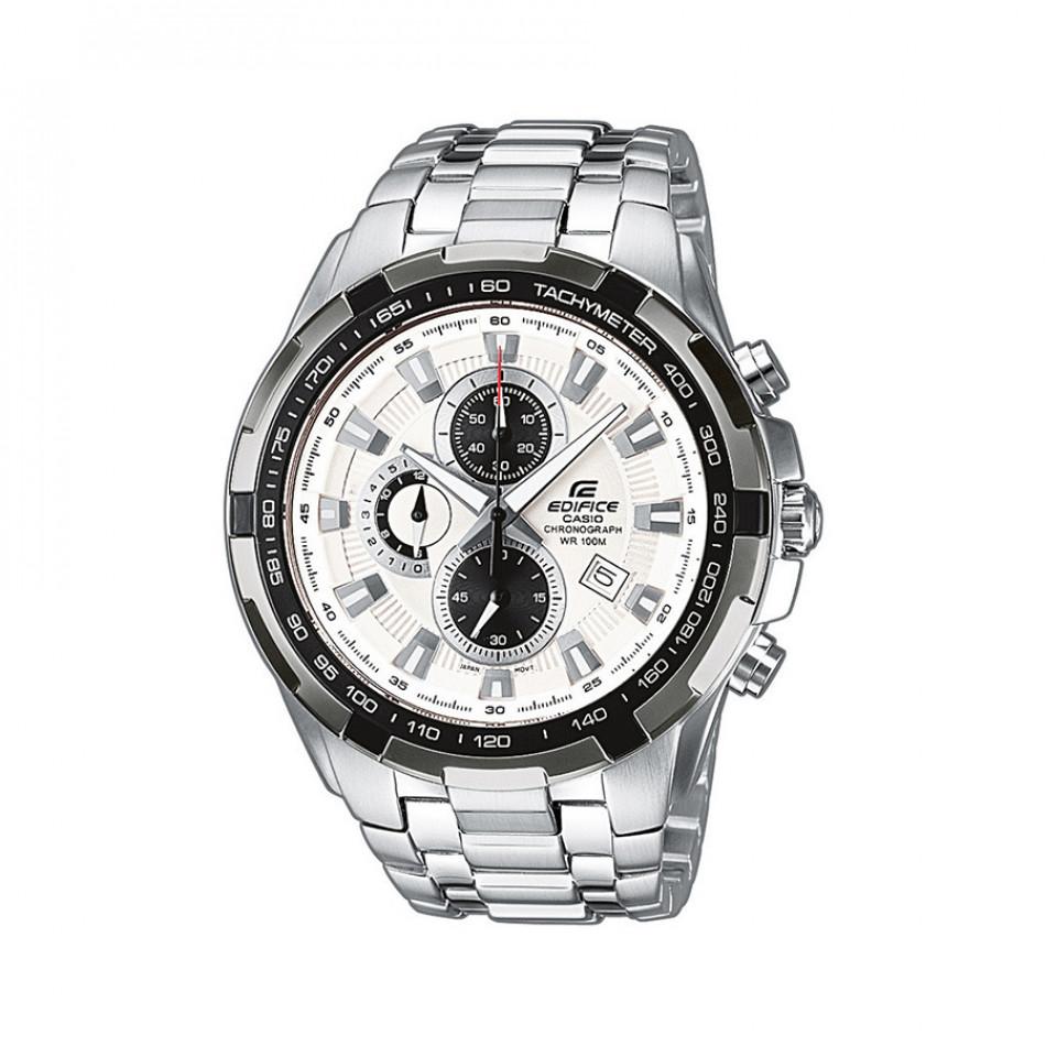 Мъжки часовник Casio Edifice сребрист браслет с черен ринг на циферблата EF539D7AVEF