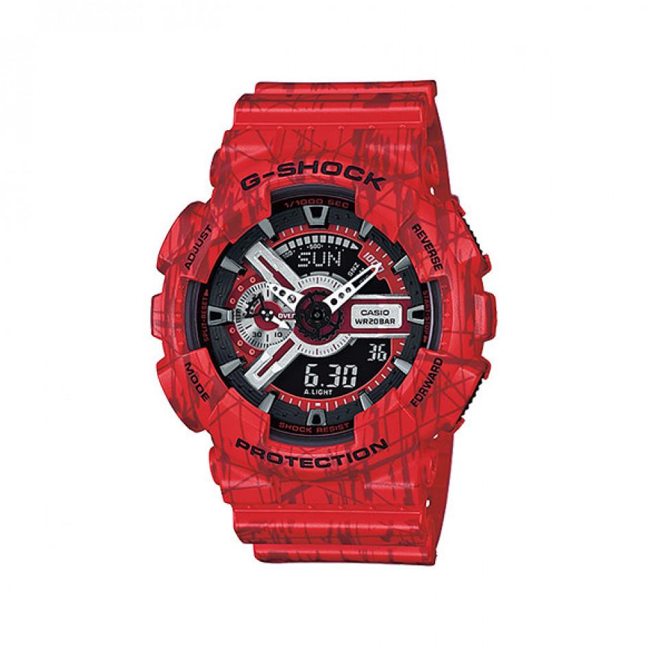 Мъжки спортен часовник Casio G-SHOCK червен с черни детайли GA110SL4AER