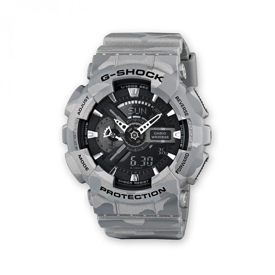 Мъжки спортен часовник Casio G-SHOCK сив камуфлаж с черен циферблат GA110SL8AER