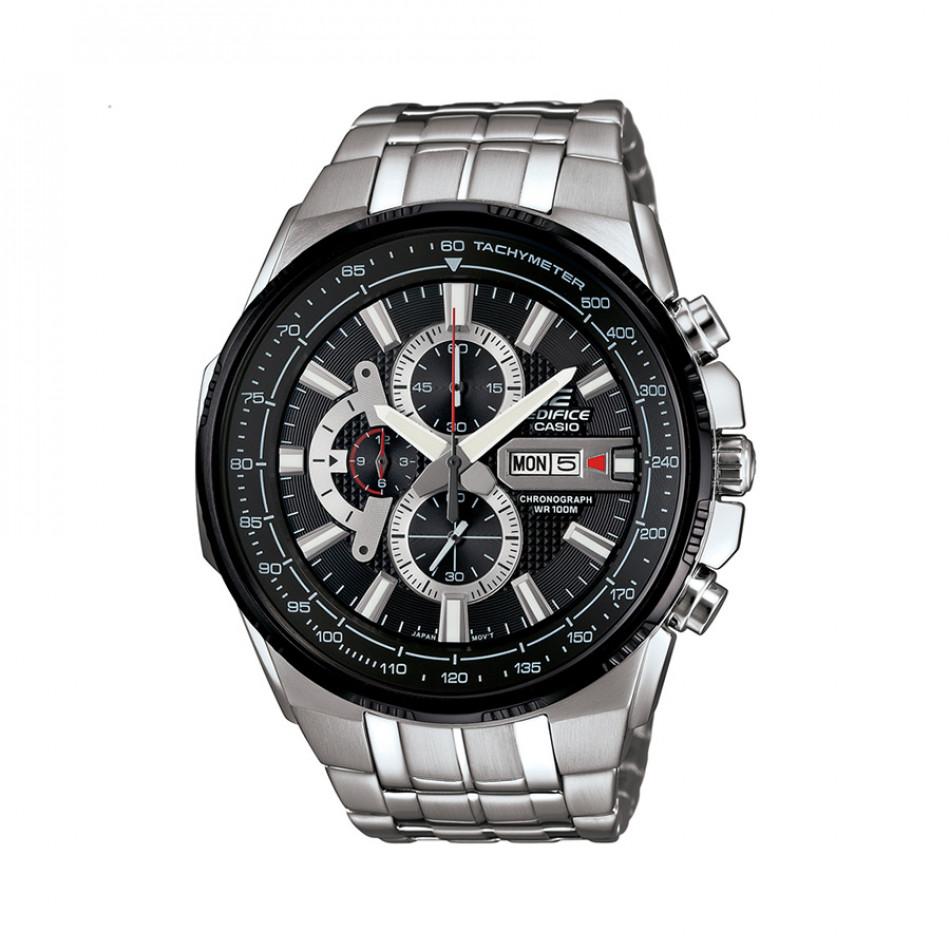Мъжки часовник Casio Edifice сребрист браслет с черно-сив циферблат EFR549D1A8VUEF
