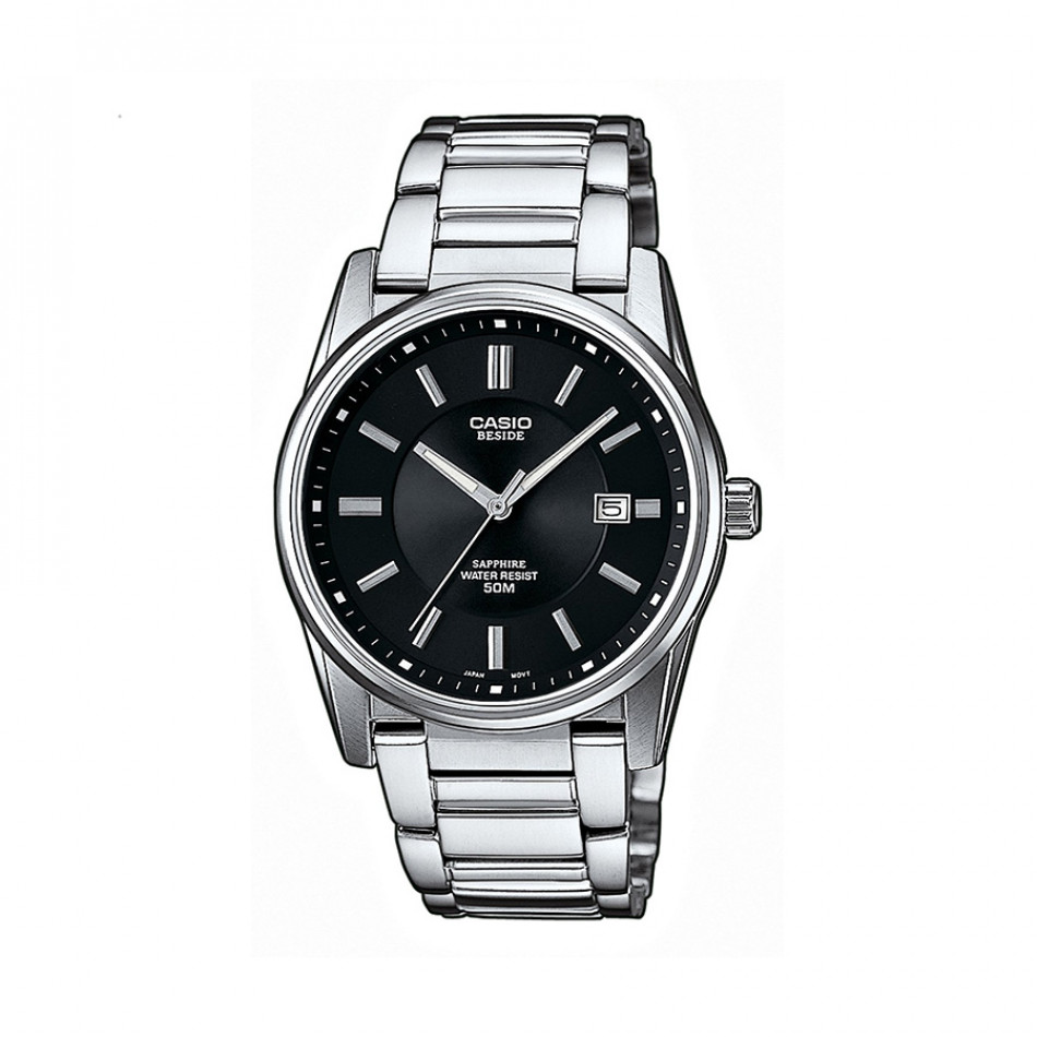 Мъжки часовник Casio Beside с  черен циферблат и сребристи индекси BEM111D1AVEF